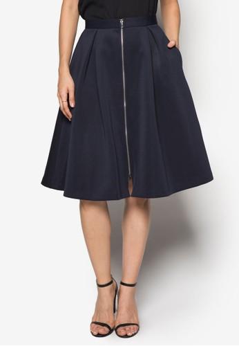 前拉鍊喇zalora 衣服評價叭及膝短裙, 服飾, 及膝裙