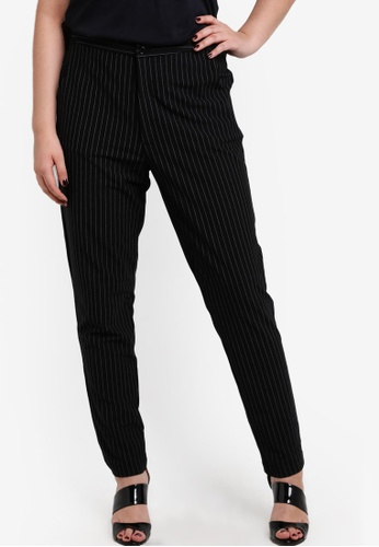 Ex'otico black Fitted Jacquard Long Pants EX373AA66DHDMY_1