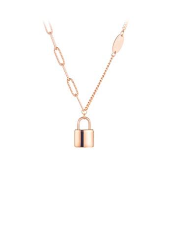 Glamorousky 銀色 簡約時尚鍍玫瑰金鎖扣316L鋼吊墜配項鏈 3E91DAC4D39B4CGS_1