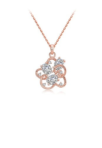 Glamorousky white Plated Rose Gold Flower Pendant with Austrian Element Crystal and Necklace 09A5EACF62CA6AGS_1