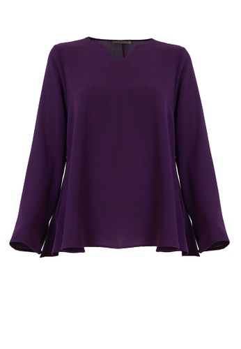 POPLOOK purple Jenifer V-Neck Flare Blouse BD1BDAA5E02745GS_1