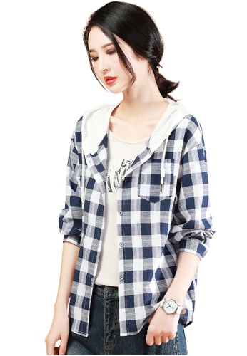A-IN GIRLS white and navy Fashion Checkered Hooded Jacket 56B5BAA877A126GS_1
