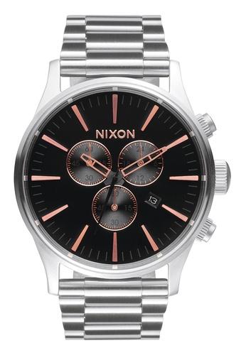 Nixon grey and pink and gold Nixon - Sentry Chronograph Grey/Rose Gold Watch NI855AC64EBFSG_1