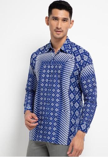 Danar Hadi blue Kemeja Panjang Batik Print Motif Latar Segi Cemukiran F0A1AAA24F4203GS_1