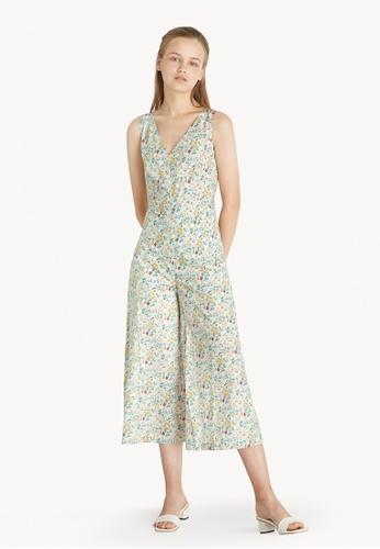 Pomelo green Floral Surplice Jumpsuit - Green F4BB0AADCD8996GS_1