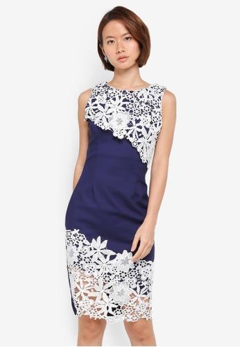 Paper Dolls navy Contrast Crochet Lace Dress 42F45AAEBA431DGS_1