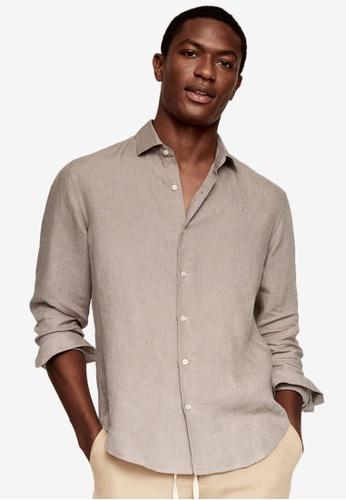 MANGO Man brown 100% Linen Regular Fit Shirt E30D8AA6F48BD6GS_1