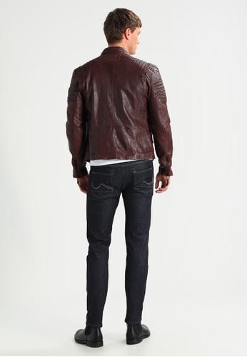Gipsy 褐色 COPPER條紋肩飾皮衣 GI565AA0ACOZTW_1