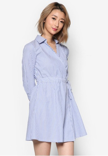 裹飾腰帶京站 esprit細條紋連身裙, 服飾, 洋裝