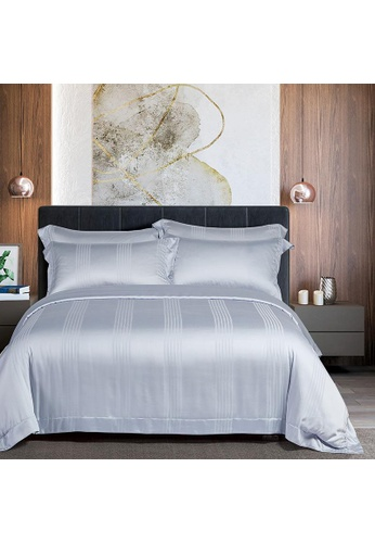 Epitex Cressent Dale 1500TC LA3302-1 Silver Valenfil Collection Filagen Collagen Fibre Jacquard Bedset (w quilt cover) 1414BHLC576499GS_1