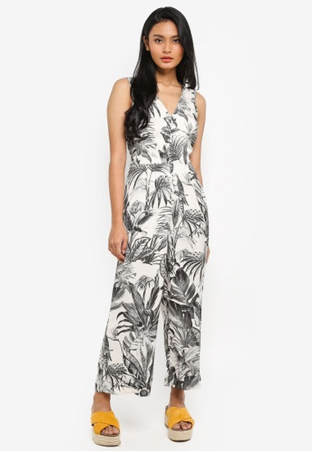WAREHOUSE white and multi Jungle Print Jumpsuit DAC04AAED6BED3GS_1