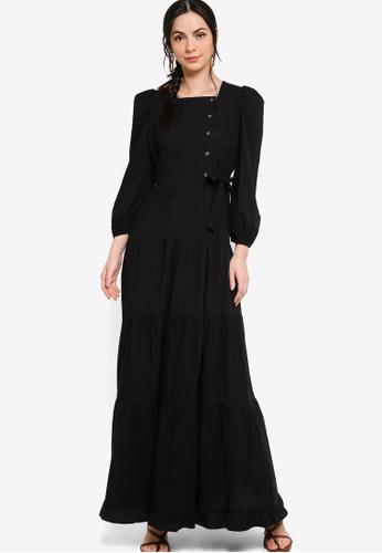 Zalia black Puff Sleeve Tiered Dress A6801AA41F5838GS_1