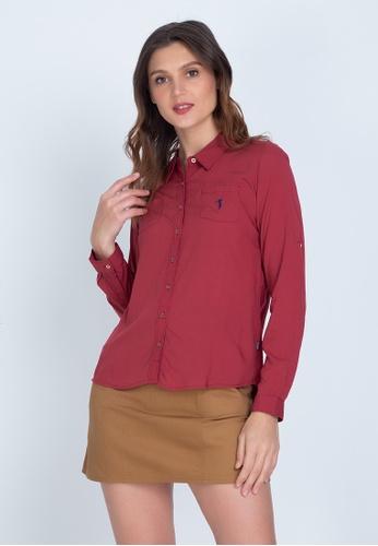 Bossini Ladies brown Woven Plain Rayon Long Sleeve Polo 6BEEBAA7A5AC59GS_1