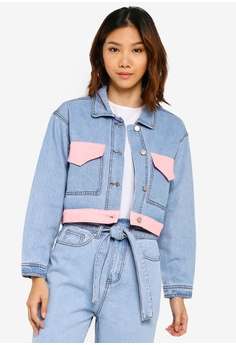 d0757893283d9 Something Borrowed blue Contrast Colorblock Denim Jacket BF9F0AA7A22B37GS_1