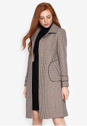Well Suited brown Houndstooth Pattern Trench 17986AA5DA43F7GS_1
