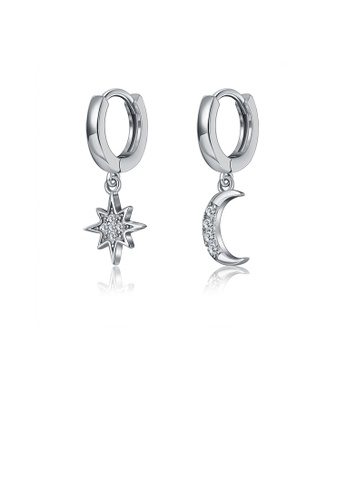 Glamorousky white 925 Sterling Silver Fashion Simple Star Moon Asymmetric Earrings with Cubic Zircon C4CECAC1549ED3GS_1