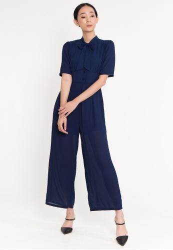 BEBEBUTTERFLY blue BebeButterfly Neck-Tie Short Sleeve Wide-Leg Jumpsuits 7E6F4AA3A2DE36GS_1