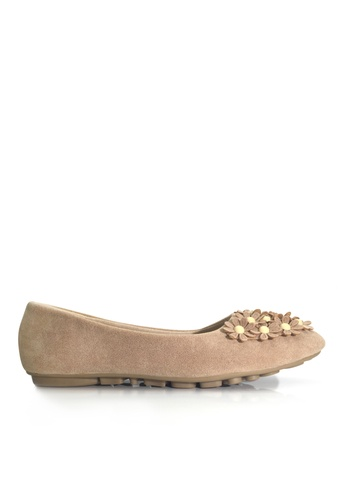 Twenty Eight Shoes 米褐色 小碎花平底鞋 VL1328 75EAASH6E496EFGS_1