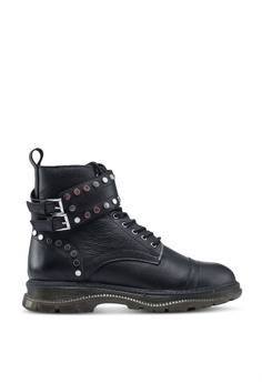 2a93f8b0c245a9 River Island black Studded Lace-Up Boots C2F51SH5EA46A6GS_1