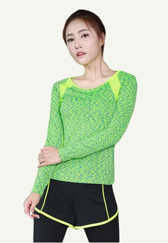 B-Code green ZYG5133-Lady Quick Drying Running Fitness Yoga Sports Top and Leggings with Shorts-Green C72FFAA20722C5GS_1