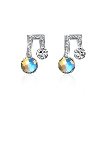 Glamorousky multi 925 Sterling Silver Simple Note Stud Earrings with Austrian Element Crystal 0E63DACD99A959GS_1