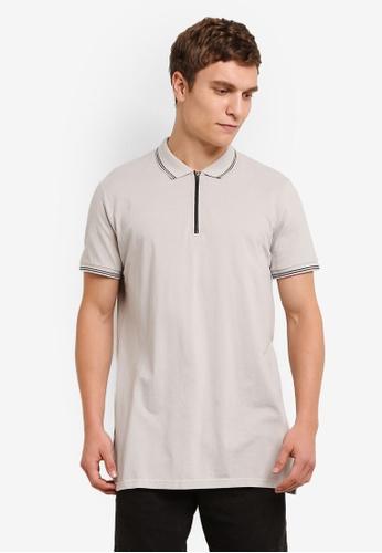 Cotton On grey Ae Short Sleeve Longline Zip Polo CO372AA0S4AHMY_1