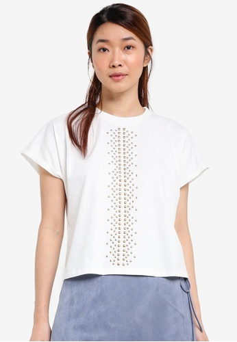 Something Borrowed white Studded Drop Shoulder Tee 29FB5AA4A14B07GS_1