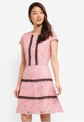Dorothy Perkins pink Pink Lace Trim Skater Dress AE18DAA3E0FFC5GS_1