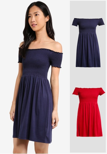 ZALORA BASICS red and navy 2 Pack Essential Smocked Dress ZA274AA0JFOYSG_1
