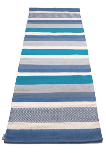 Karyaful blue and multi Laut Handloom Cotton Yoga Rug by Karyaful D97A6SE44269EDGS_1