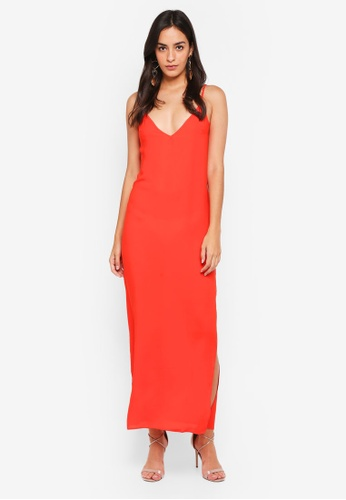 MISSGUIDED orange Georgette Plunge Strappy Maxi Dress E8AE8AABAC441FGS_1