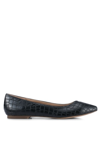 Nose black Croco Print Flat Pumps NO327SH0SJ1OMY_1