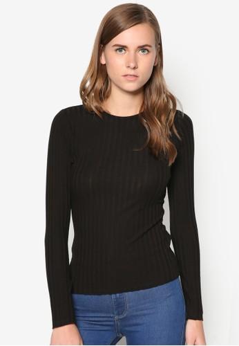 Round Neck Ribbed zalora taiwan 時尚購物網Top, 服飾, T恤