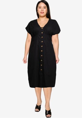 Cotton On black curve button front midi dres 75F20AA4E53DD4GS_1