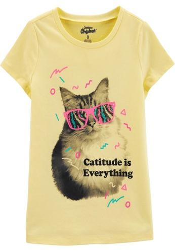 Oshkosh B'gosh yellow OSH KOSH Girl Yellow Cat Graphic Tee 67078KA3AB68CFGS_1