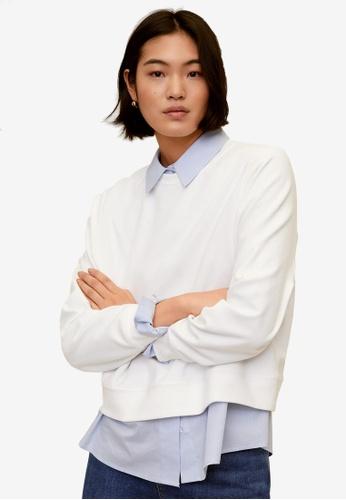 Mango white Cotton Piqué Sweatshirt AE8D1AA77529B5GS_1