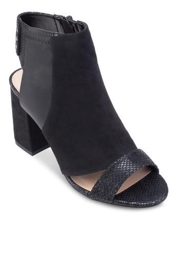 蛇紋拼接鏤空粗跟踝靴,esprit地址 女鞋, 鞋