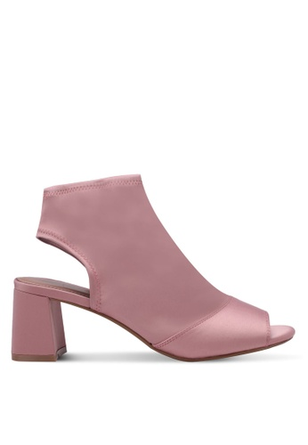TOPSHOP pink Disco Satin Heeled Sandals TO412SH0RY4BMY_1