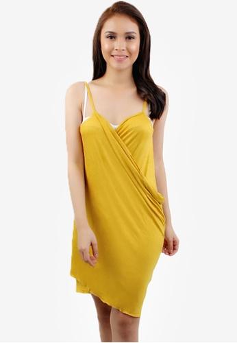 OOTD yellow Basic 2 Way Wrap Around Cover Up Beach Dress 65802USFBF7AAFGS_1