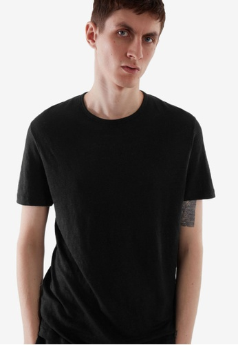 COS black Regular-Fit Linen T-Shirt 08C47AAFF0BFAEGS_1