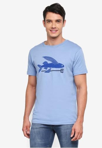 Patagonia blue Flying Fish Organic T-Shirt PA549AA0SVMOMY_1