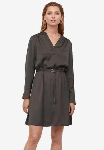 H&M green Belted Dress A1DB5AA08C74FDGS_1