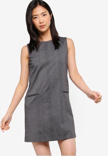 ZALORA BASICS grey Basic Pocket Details Shift Dress 5A666AAE5FA93FGS_1