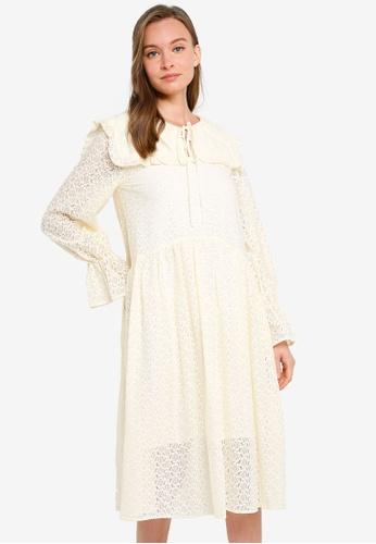 URBAN REVIVO white Lace Smock Dress 65E26AA15A2527GS_1