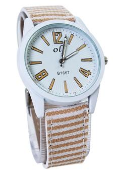 OLJ Kattie Women's Dandelion Leather and Fabric Strap Watch LFW007