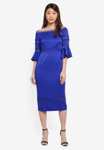 Little Mistress blue Midi Dress With Lace Trim 8B4E7AA159EF91GS_1