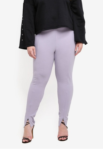MISSGUIDED grey Plus Size Cigarette Trousers FBD8AAABADC67AGS_1