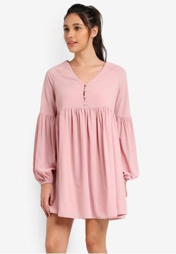 Something Borrowed pink Button Down Babydoll Dress 618BDAAA770EA6GS_1