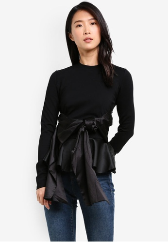 LOST INK black Big Bow Peplum Top LO238AA0SCMQMY_1