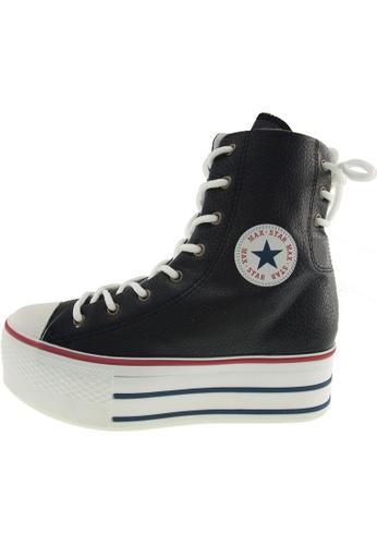 Maxstar 黑色 新款韩国鞋C50-TC-Back-3H時尚皮革布混合女黑色 US Women Size MA345SH69GUKTW_1